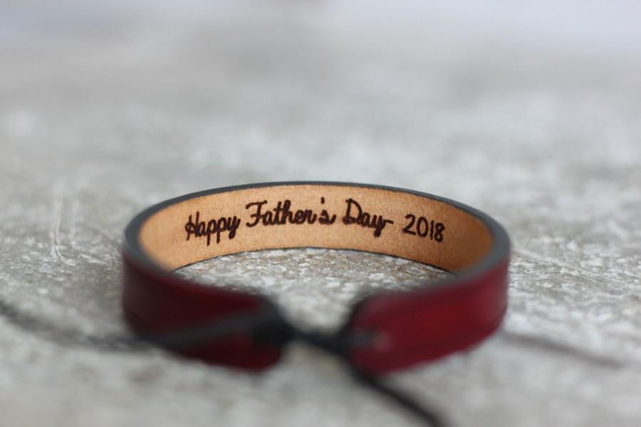 Mariage - Men's leather bracelet-hidden message bracelet-Personalized leather bracelet custom leather bracelet- anniversary gift- gift for men- custom
