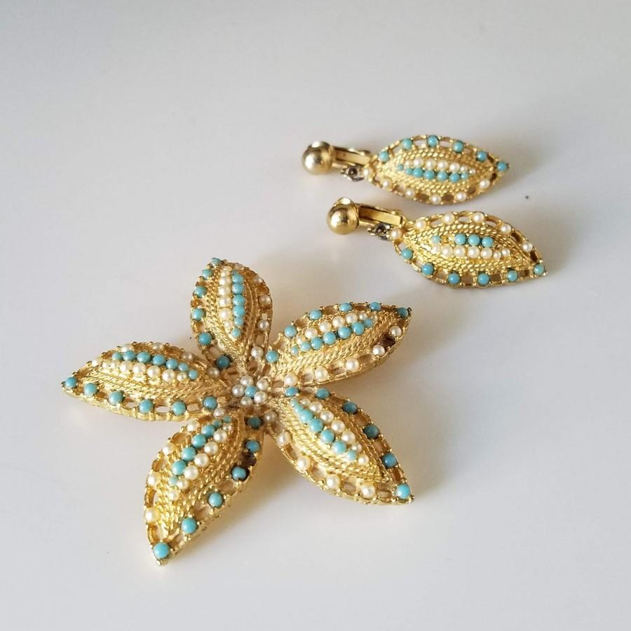 Wedding - Vintage Sarah Coventry Jewelry Set, Ocean Star Starfish Brooch and Clip On Earrings, Signed Vintage Jewelry