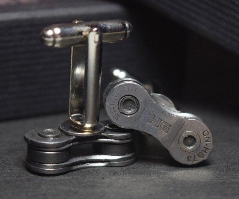 Wedding - Bicycle chain cufflinks - gift boxed