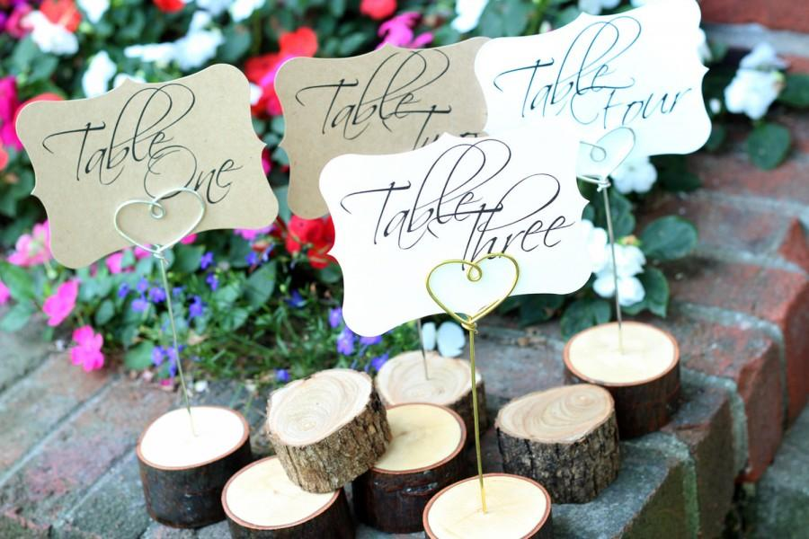 Свадьба - Rustic Table Number Holder, Wood Place Card, Log Place Card Holder, Wedding Table Numbers, Centerpiece