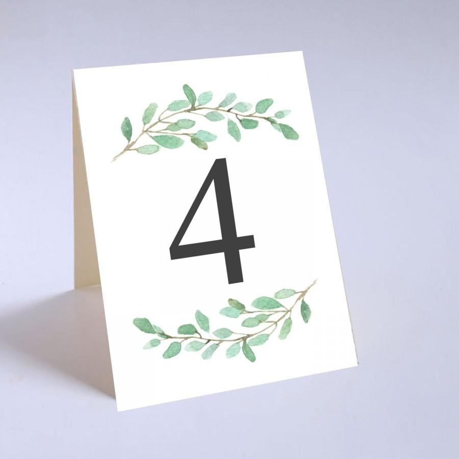 Mariage - Greenery Tented Wedding Table Number Signs, Folded Table Numbers, X01