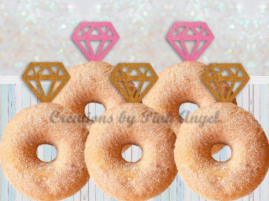 زفاف - Set of 12 Diamond Toppers Pink and Gold, Bridal Shower Toppers, Sparkly Diamond Donut Toppers, Doughnut Diamond Toppers, Cupcake Toppers