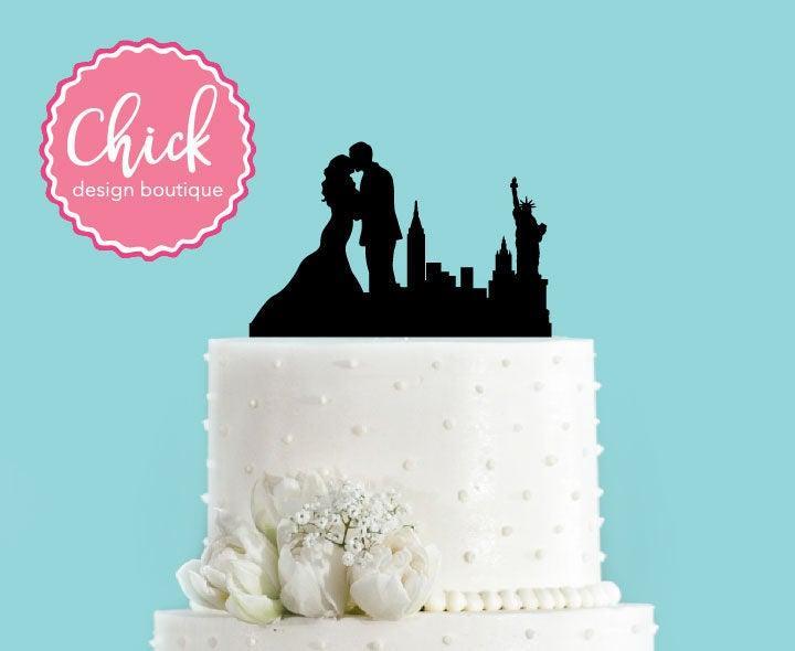 Hochzeit - New York New York Couple Bride and Groom Wedding Acrylic Wedding Cake Topper
