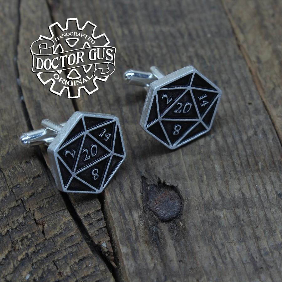 Mariage - Natural Twenty Cufflinks - D20 Cuff Links - Handcrafted Accessories by Doctor Gus - Suit and Tie - Dungeons - Geek Gifts - Dragons - Dice
