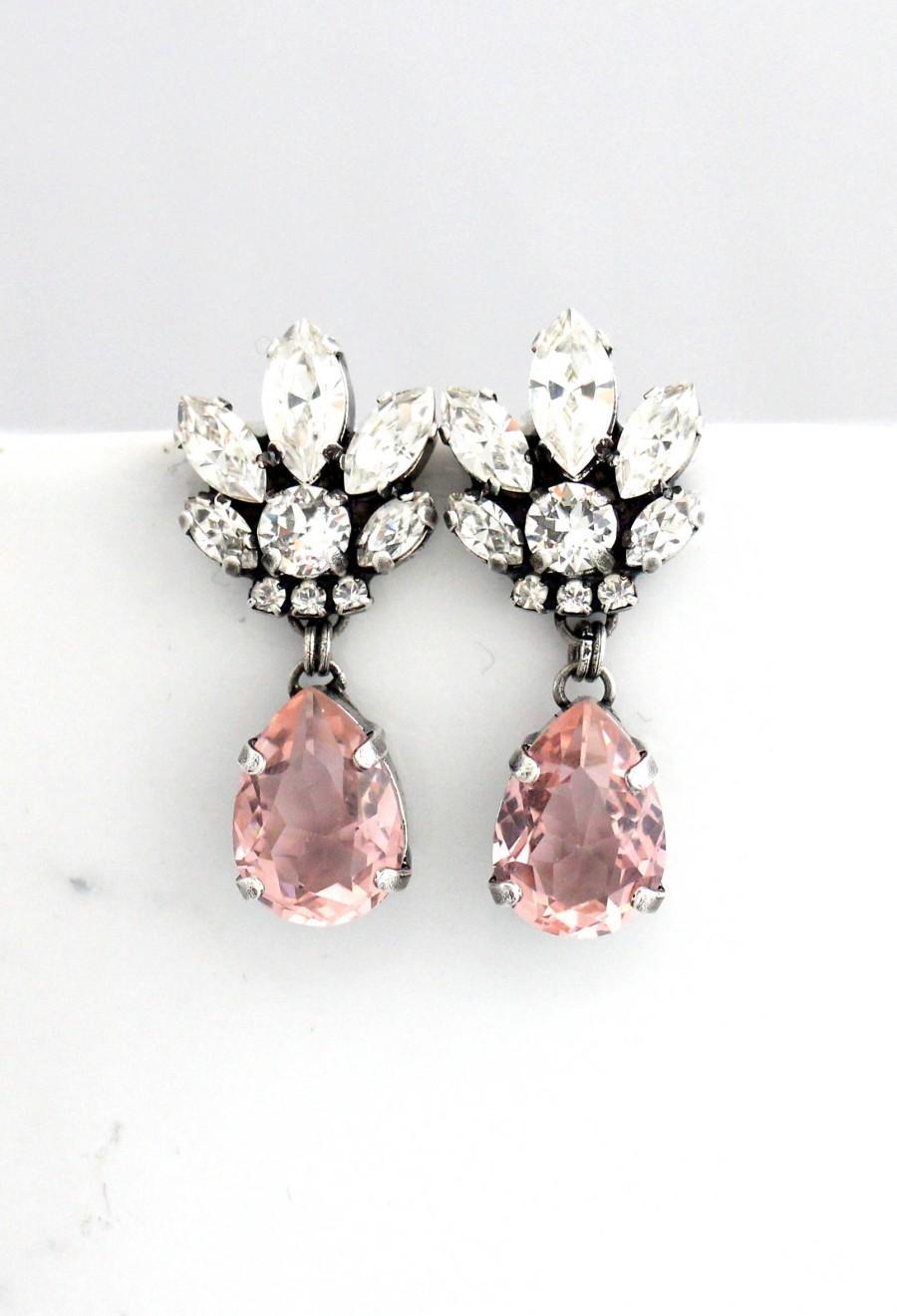 Wedding - Bridal Chandeliers, Blush Chandelier, Morganite Earrings, Bridal Earrings, Rose Gold Bridal Earrings, Bridal Peach Drop Earrings