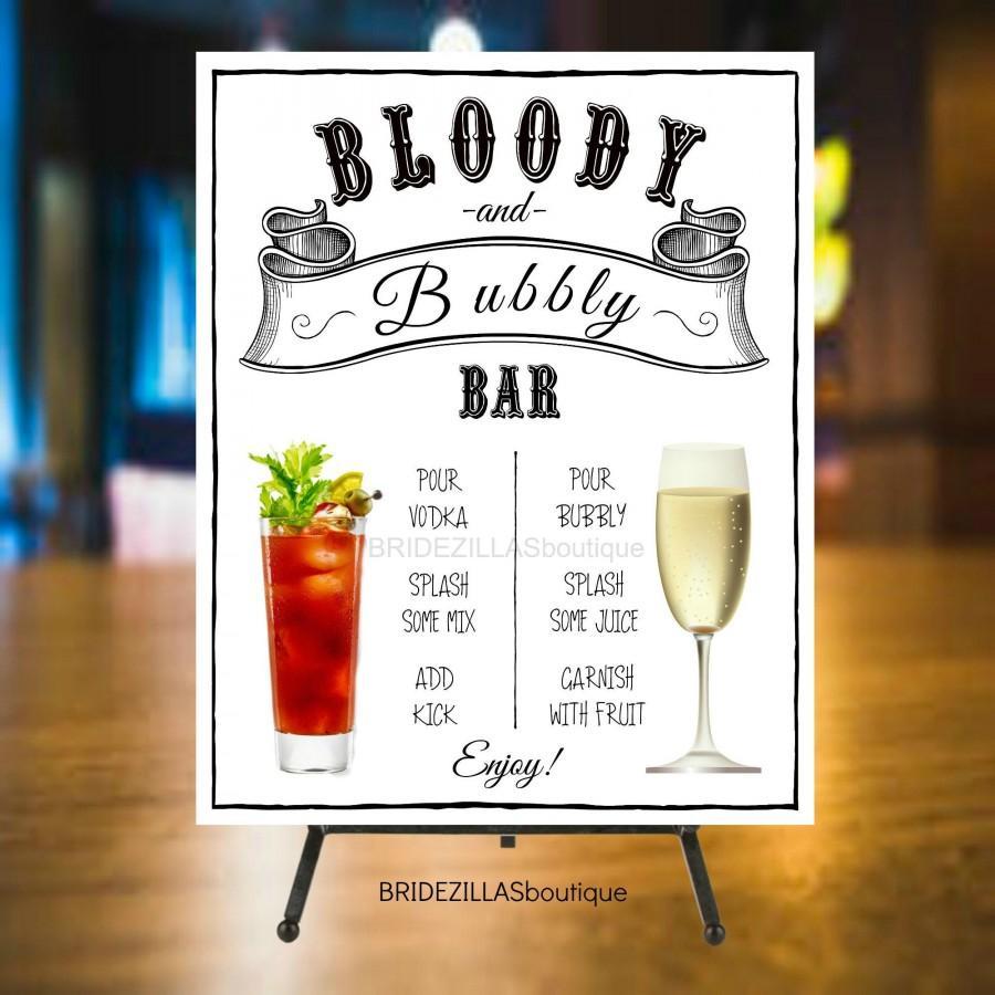 زفاف - Bloody Mary & Bubbly Bar Wedding Bridal Brunch Party Wedding Reception Sign Mimosa Champagne Open Bar 8 x 10 Printable Digital Download