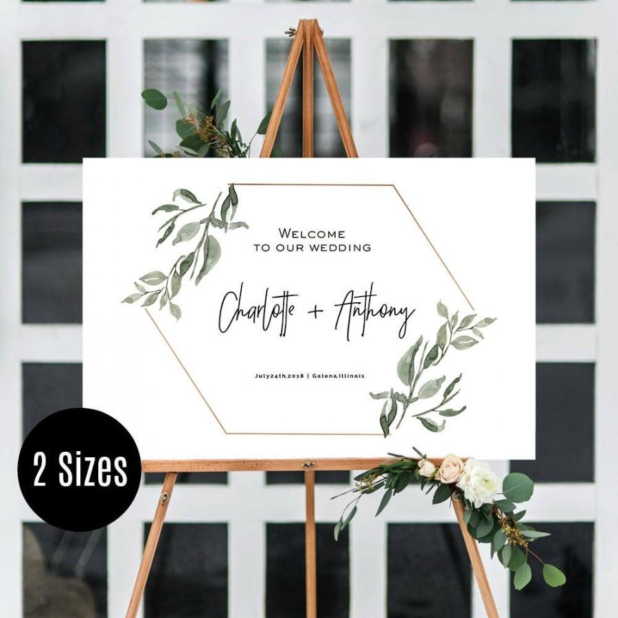 Wedding - Greenery Wedding Welcome Sign, Printable Wedding Welcome Poster, Modern Greenery Wedding Sign, Instant Download, Edit yourself, WLP-MOD 1035