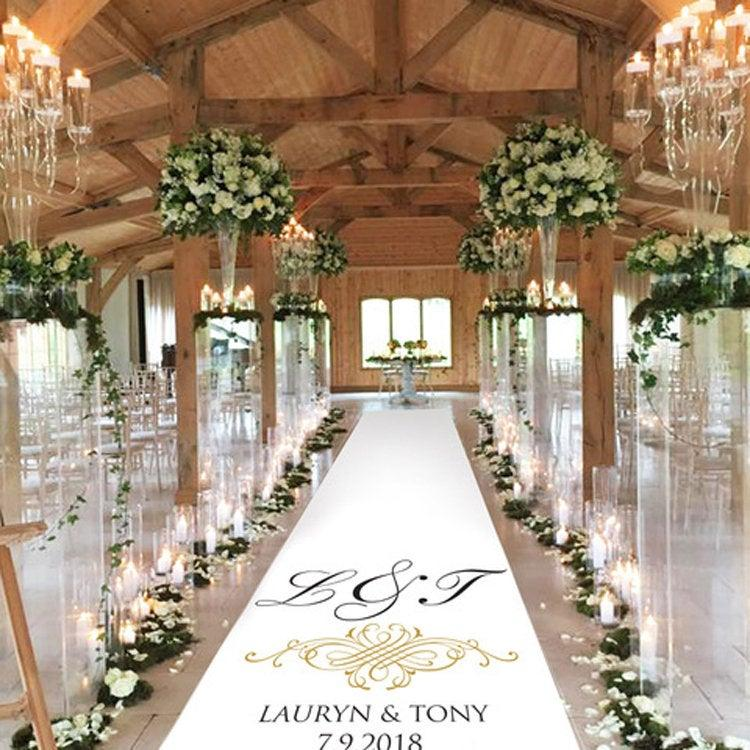 Wedding - Personalised Wedding Aisle Decoration - Initial Scroll Gold Effect
