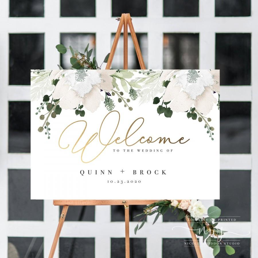 Wedding - Wedding Welcome Sign printable, gold, large, wedding sign, welcome wedding template, instant download, greenery, rustic florals, watercolor