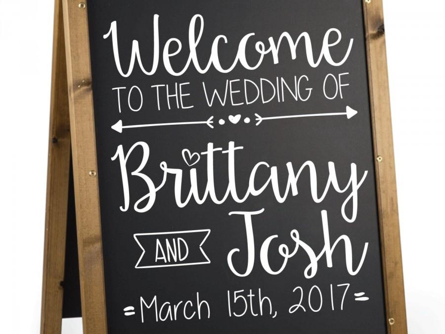 Wedding - Wedding Welcome Sign Decal.  Welcome to Our Wedding Sign Decal.  Custom Welcome Sign Decal for Wedding.   Personalized Wedding Welcome Decal