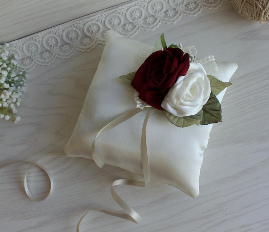 Mariage - Burgundy Ivory green ring pillow,wedding ring pillow,flower pillow,Burgundy Ivory Wedding,Satin wedding ring pillow,wedding ceremony pillow