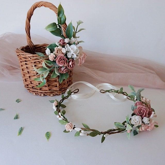Wedding - Flower girl basket, basket with faux flowers, wicker basket, twig basket, rustic basket, small basket, kids basket, wedding baskets, wedding
