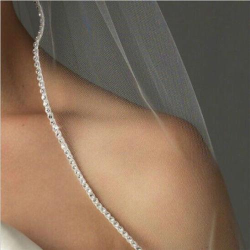 Mariage - Rhinestone white or light ivory veil, elbow length, simple bridal veil, short veil