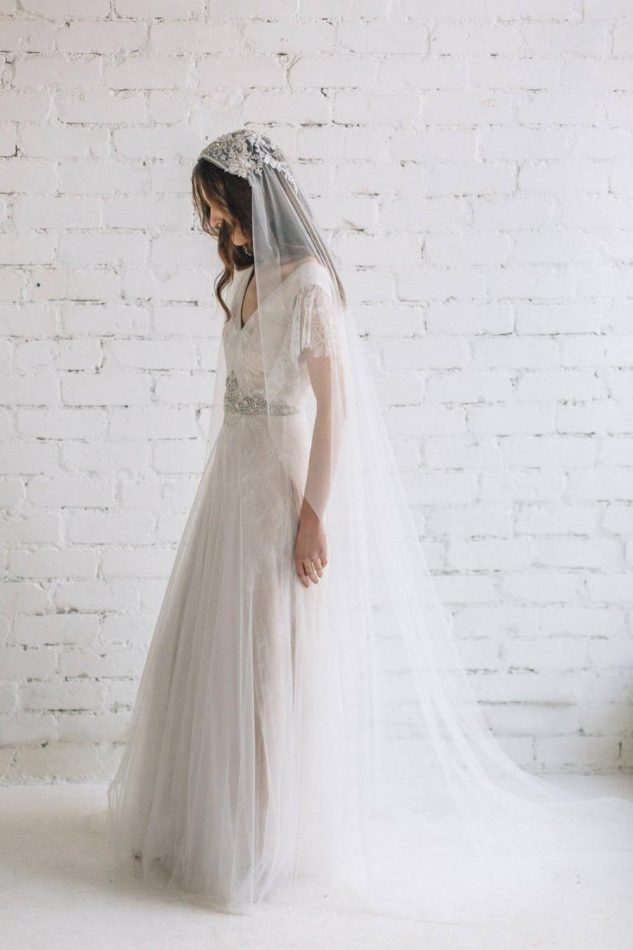 Wedding - Juliet Cap Bridal Veil , Boho Wedding Veil , Veil with Crystals , White Opal Swarovski Veil - AMELIA