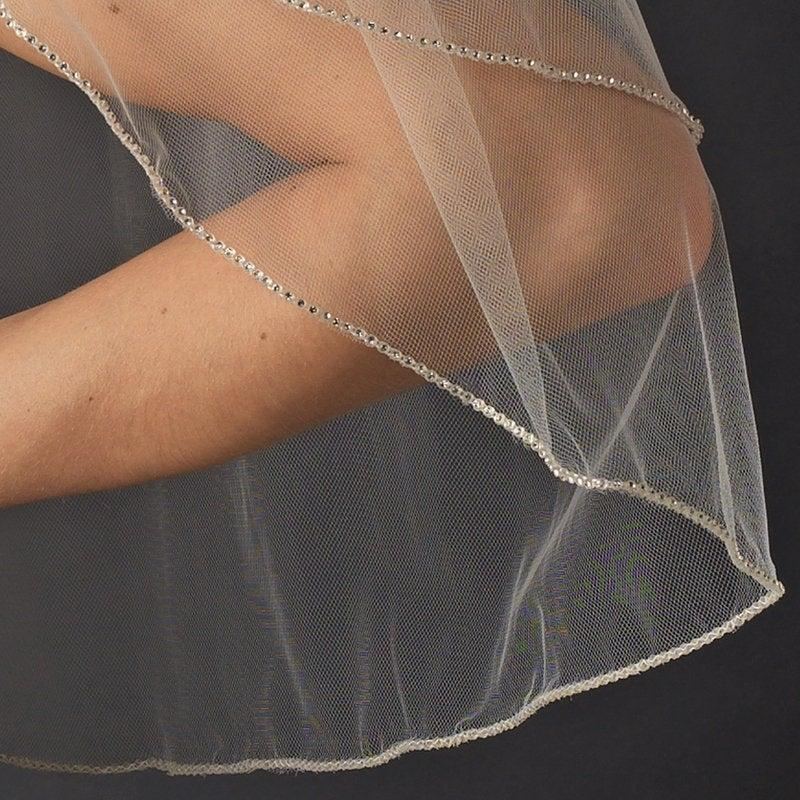 Wedding - Ivory veil Diamante Rhinestone edged wedding veil 1 Tier. Various lengths, colour's and widths to choose from. FREE UK POSTAGE