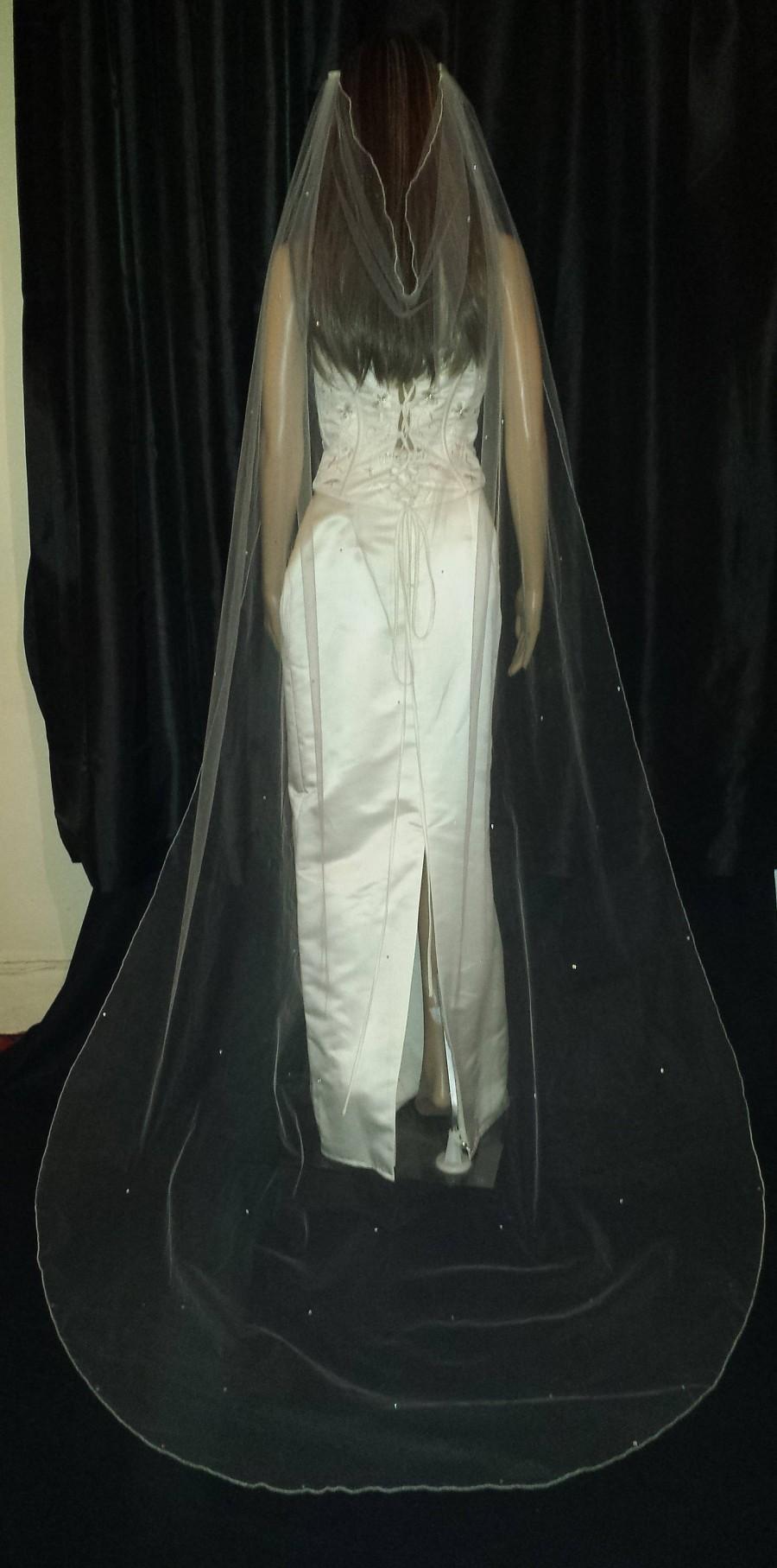 "Wedding - Drape style Pale Ivory wedding veil. Chapel Length 90"" ivory, white or pale Ivory.  Cut or Pencil edge .  Choice of accents. Boho style veil"