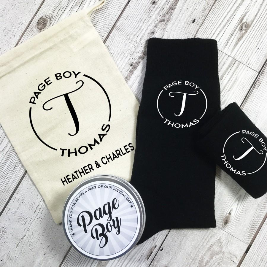 Wedding - Monogram Page Boy Personalised Socks with tin and Personalised Gift Bag Wedding Morning gift
