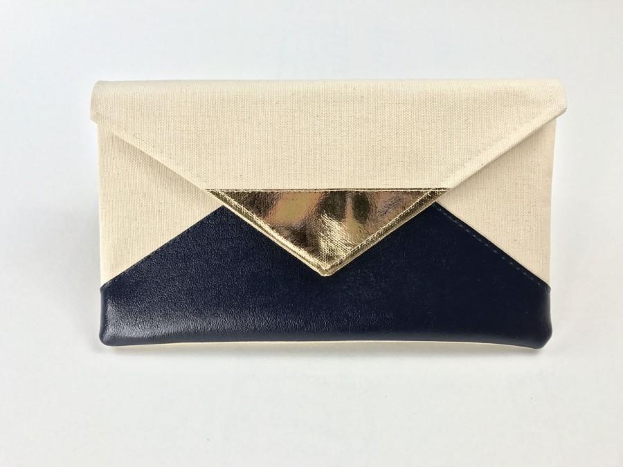 Hochzeit - Navy Envelope Clutch, rose gold bridesmaid clutch, gold bridesmaid purse, silver bridal clutch, blue wedding gift set, gift for her