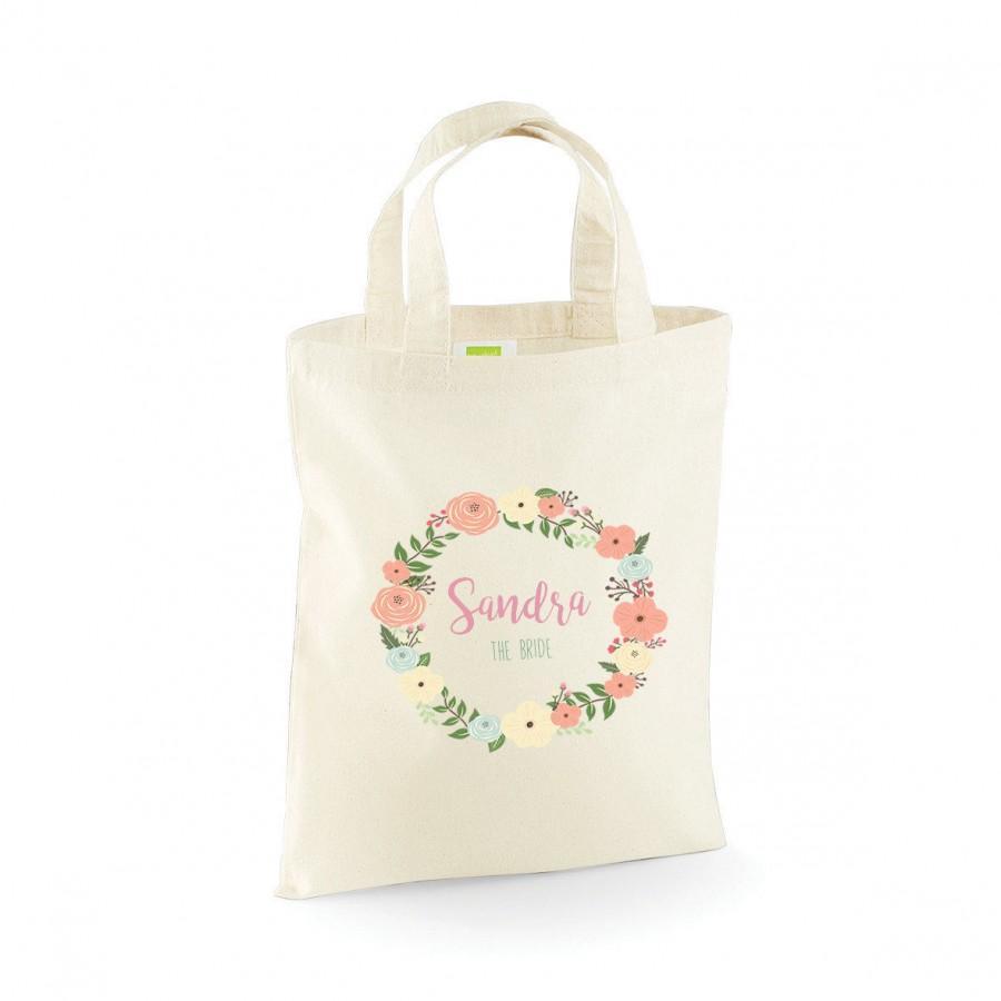 زفاف - Personalised Floral Bridal Wedding Party, Flower Girl, Bridesmaid, Any Name Favour Gift Bags