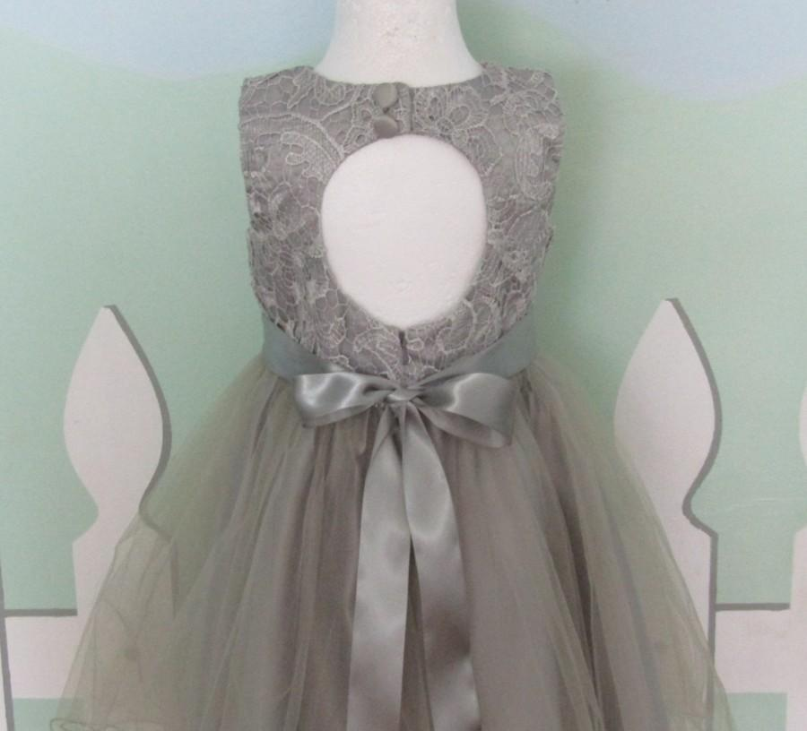 Mariage - Gray flower girl dress Tulle flower girl dress Special Occasion dress Elegant flower girl dress Formal dress Couture Boutique Chic Party