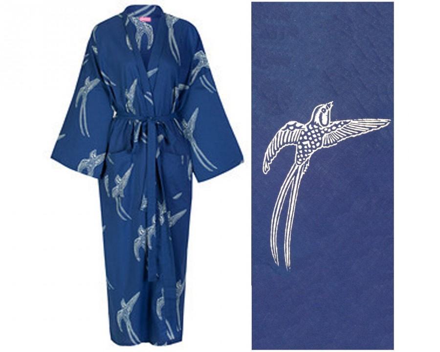 Hochzeit - Kimono Dressing Gown - Cotton Kimono Bathrobe for Women - 100% Organic Cotton - Blue Cotton Robe - Women's Bathrobe - Kimono Robe Yukata