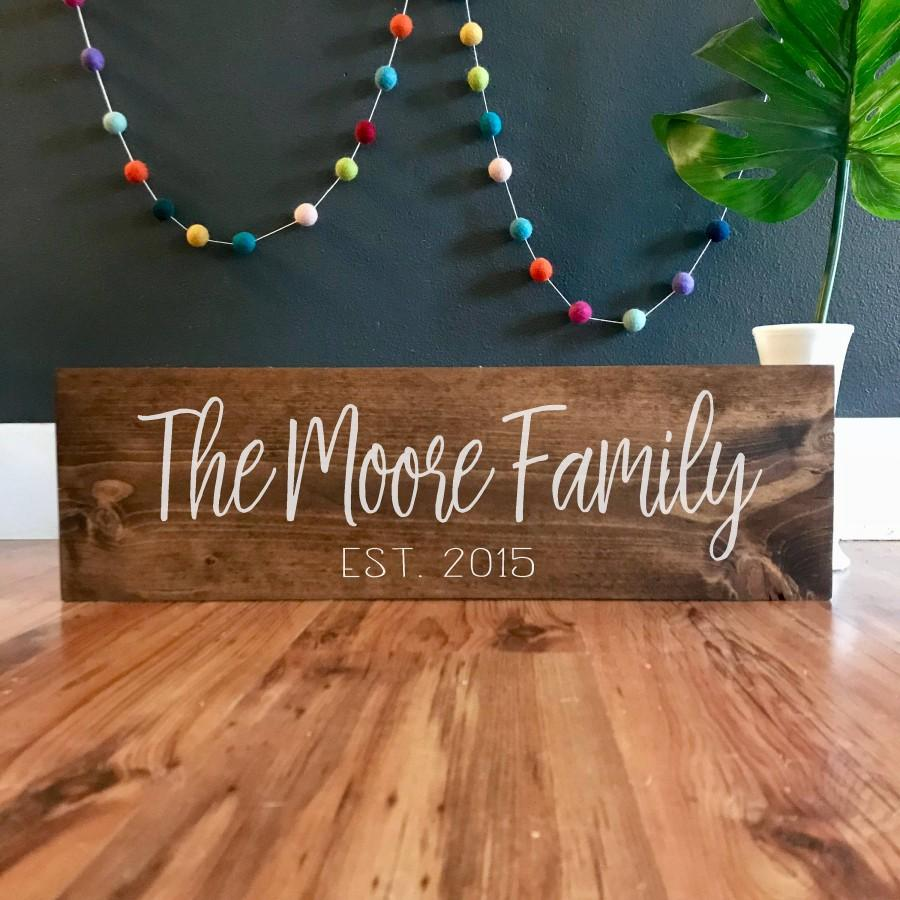 Hochzeit - Family name sign. wood Last name established sign. Personalized Family sign established sign wedding sign family name plaque est sign