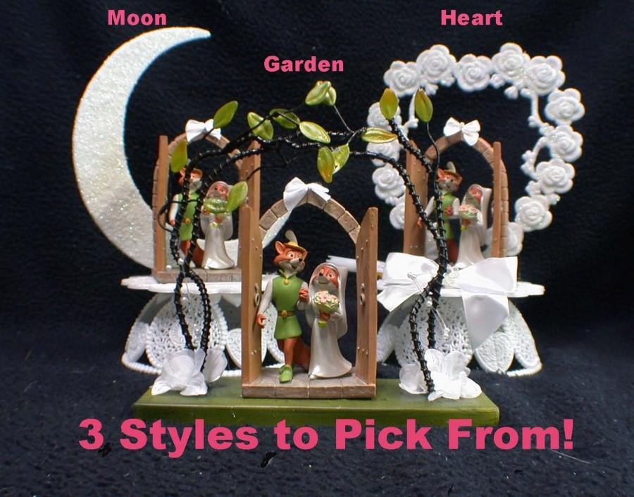 Hochzeit - 3 styles DISNEY Robin Hood & Maid Marian Wedding Cake Topper. Precious LOVE Figurine Groom Top Fox centerpiece figure