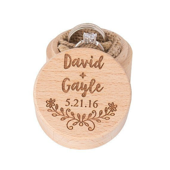 Hochzeit - Personalized Wedding Ring Box, Wooden Ring Box, Ring Bearer Box, Wedding Ring Holder, Custom Ring Box, Engagement Ring Box