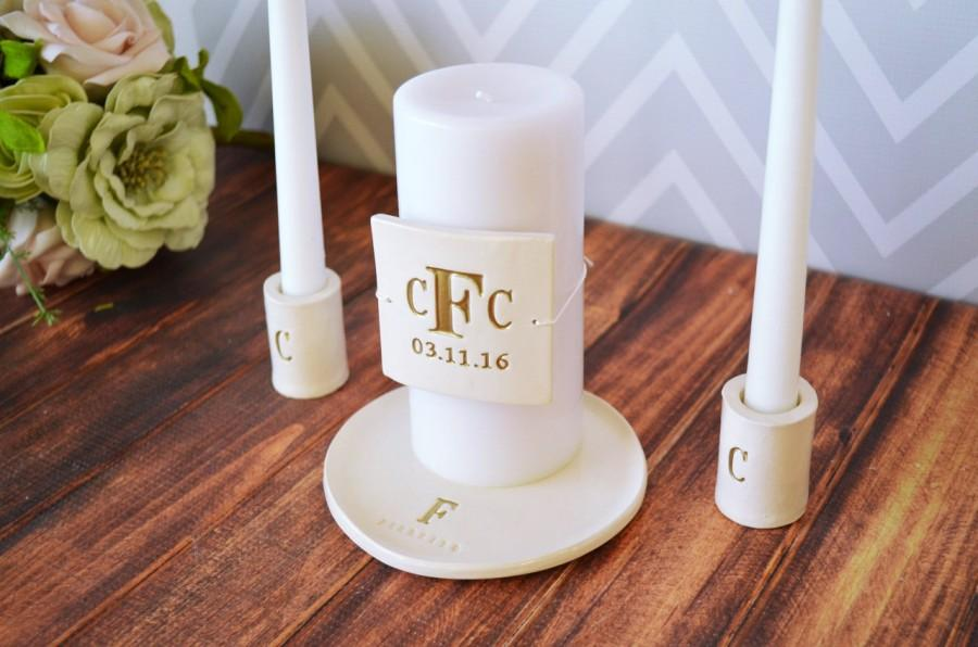 Hochzeit - PERSONALIZED Unity Candle Ceremony Set with Ceramic Candle Holders and Plate - in Gold