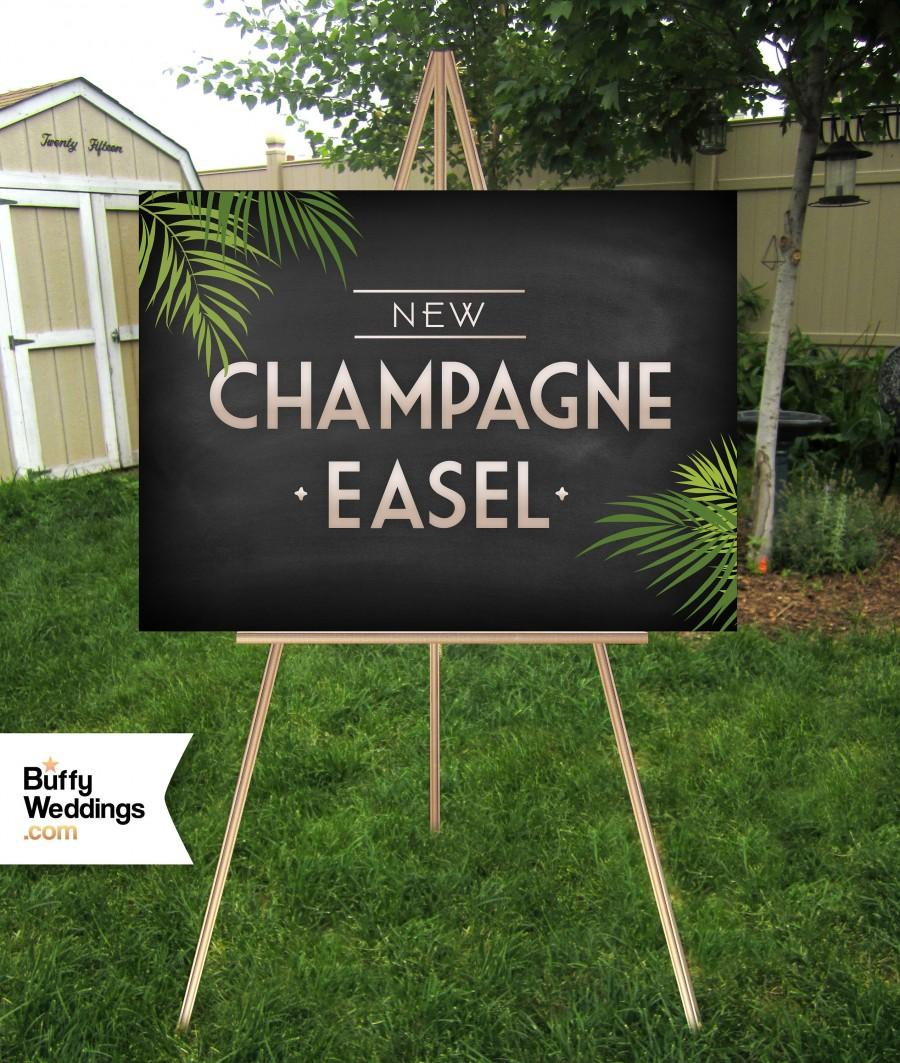 Hochzeit - CHAMPAGNE Easel . Large Wood Wedding Sign Stand . Metallic Hand Painted Display Signs up to 30 x 40in Foam Board, Canvas, Wood Sign, Acrylic