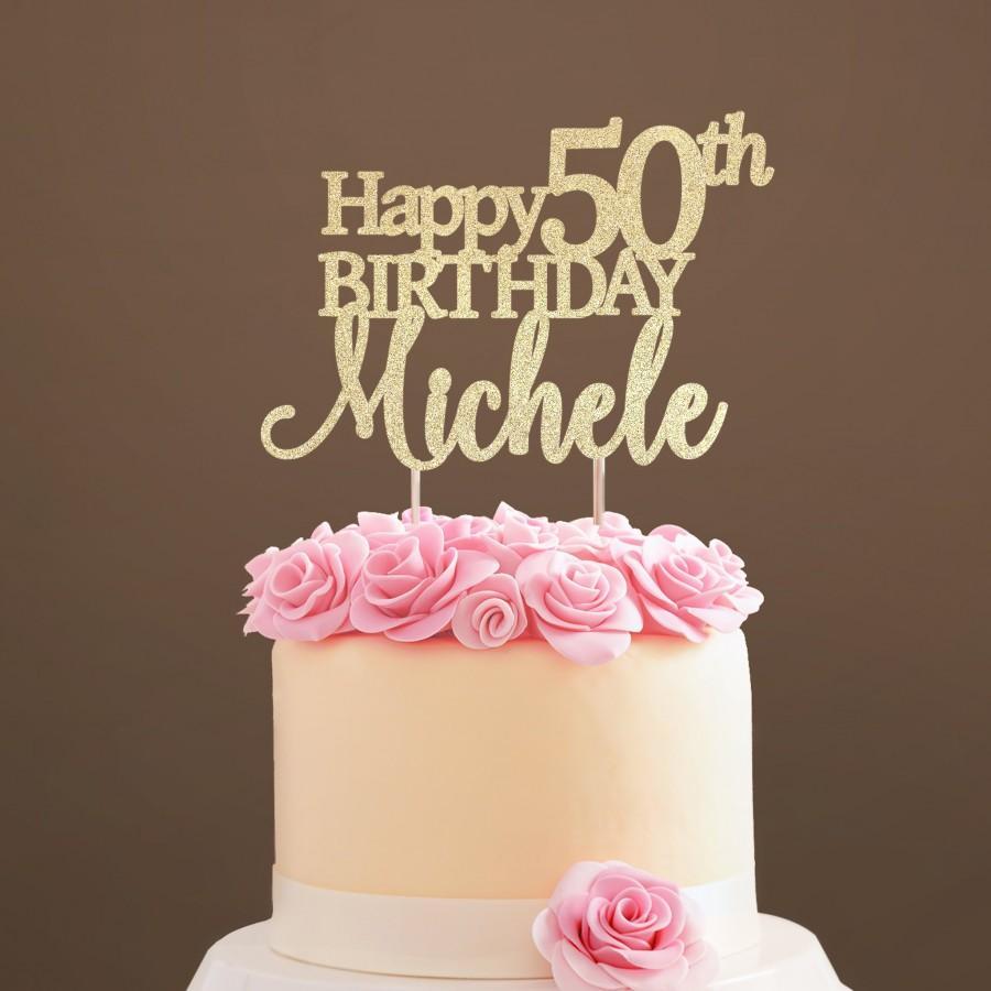 Hochzeit - 50 Birthday Cake Topper, 50th Birthday Cake Topper, Fifty Birthday Cake Topper, Personalized Cake Topper, Gold, Silver, Birthday Topper