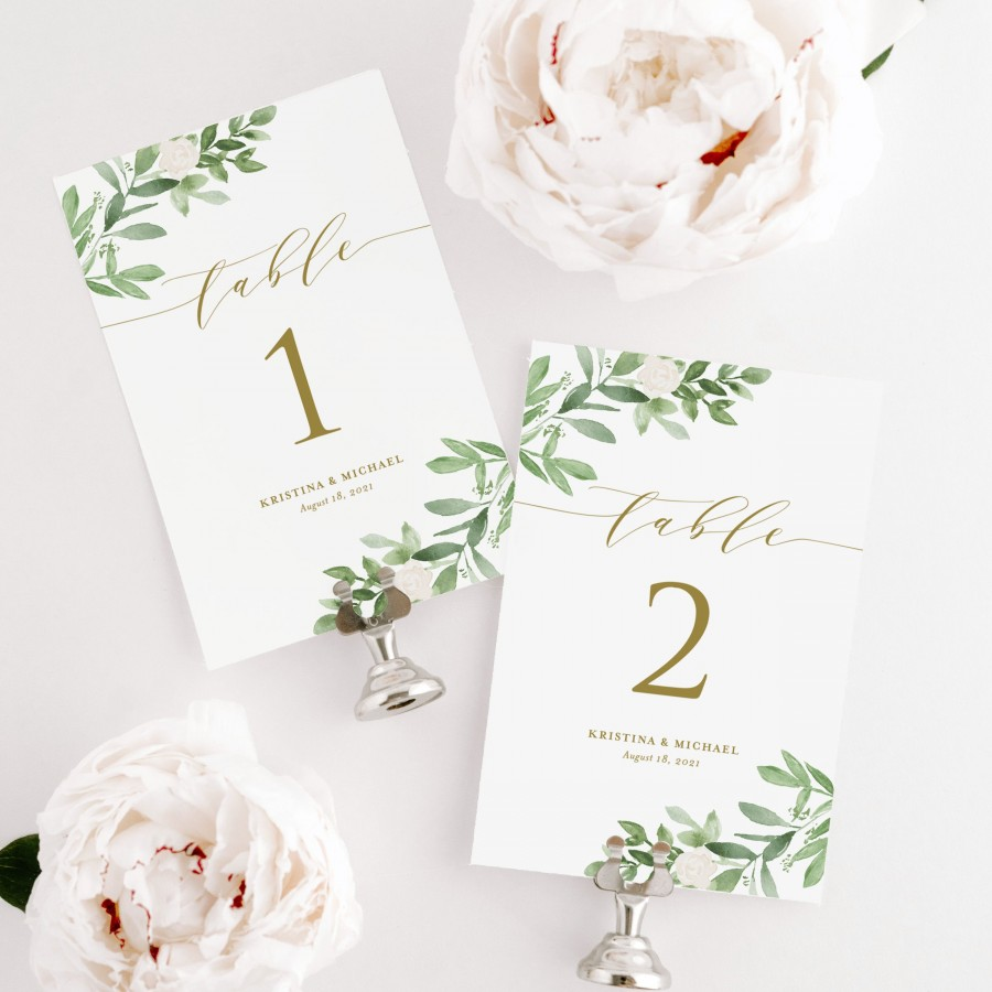 Mariage - Printable Greenery Table Numbers Template - Editable Watercolor Greenery and White Flowers Table Numbers - 4x6 and 5x7 - Instant Download