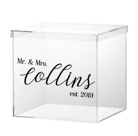 Hochzeit - Wedding Card Box Personalized, Wedding Money Box, Clear Acrylic Card Box, Gift Card Box, Card Box with Slot, Wedding Keepsake Box, Modern