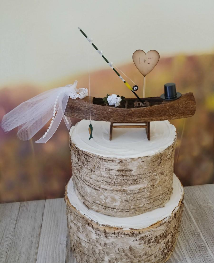 Hochzeit - Rustic-canoe-boat-bride-groom-wedding-cake topper-Mr and Mrs-country-western-woodland-custom-row boat-fishing-fisherman-hunting-camouflage