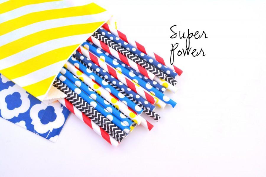 Hochzeit - Super Hero Party Superman -Paper Straws, Red Stripe, Spiderman, Yellow -Captain America -Superhero Birthday Party -Boy Birthday Straws,
