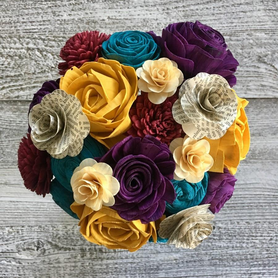 Свадьба - Celebrate Your Story Wooden Flower Bouquet -  Made to Order - Birthday Gift - Housewarming - Anniversary - Book Page Flowers - CB1004