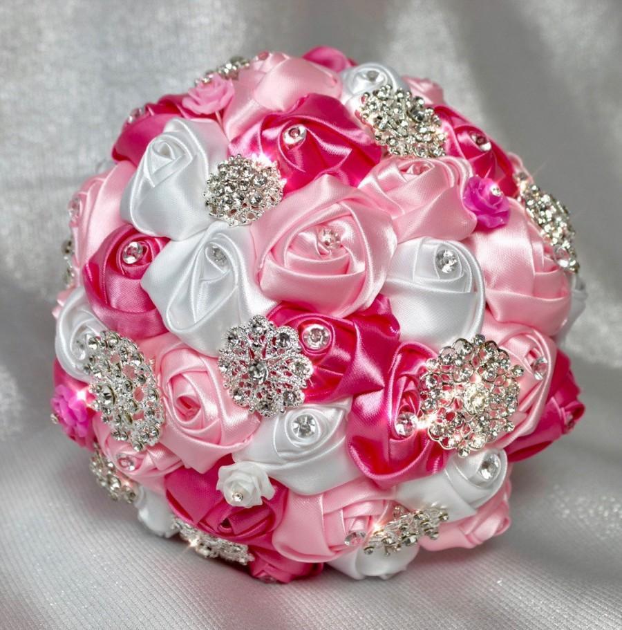 "Свадьба - 6"" Pink Brooch Bouquet, Rose Brooch Bouquet, Wedding Bouquet, Pink Bridal Bouquet, Flower Girl Bouquet"