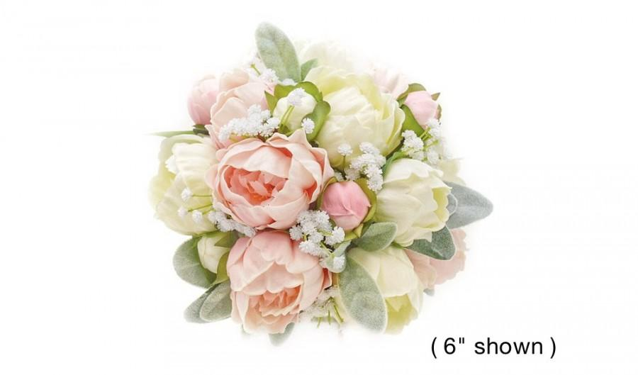Свадьба - Real Touch White Blush Pink Peonies Babys Breath Lambs Leaf Bridal Bouquet Bridesmaids Bouquets Prom Bouquet Wedding Flowers