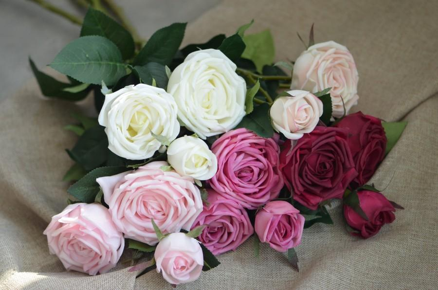 Свадьба - Real Touch Burgundy Cabbage Roses Cream Lavender Blush Roses Spray DIY Wedding Centerpieces Silk Bouquets Garden Roses#348