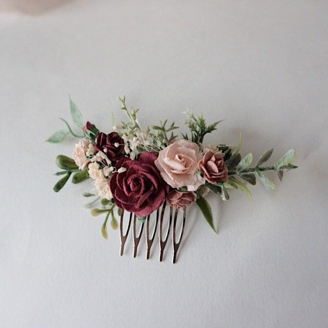 Mariage - Wedding hair piece, Bridesmaids hair pieces maroon and pink and greenery headpiece, floral hair piece, burgundy hair clip, bridal hair piece
