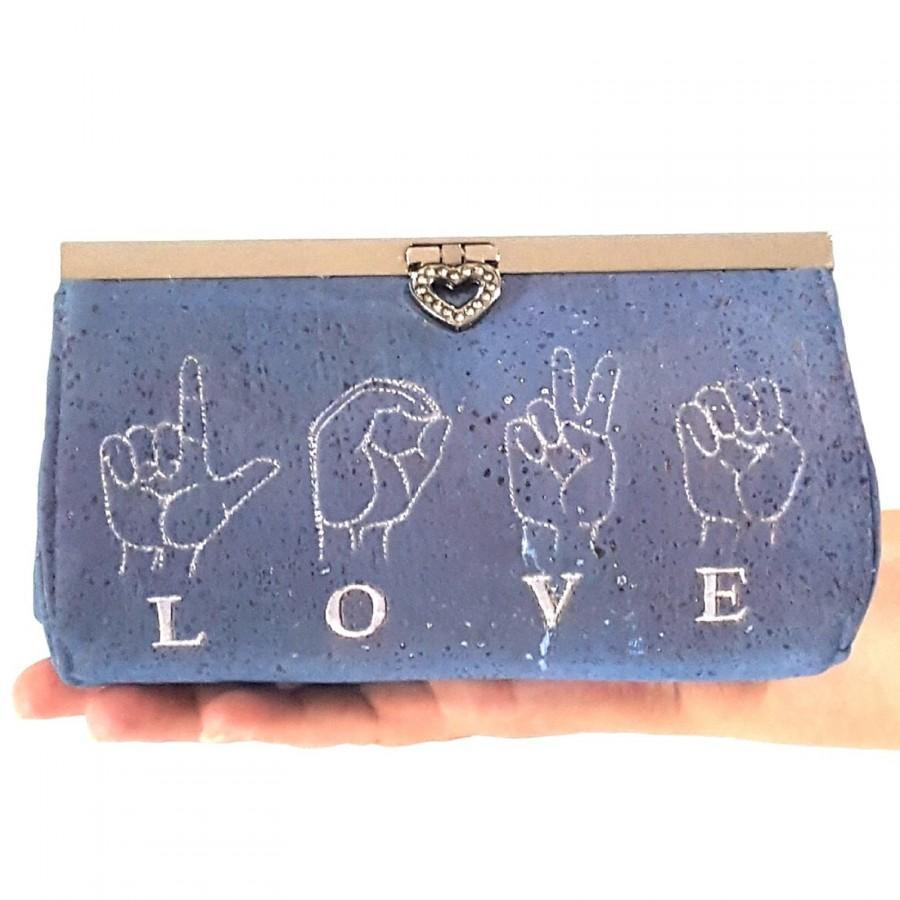 Hochzeit - Cork Clutch in Blue with embroidered LOVE in sign language