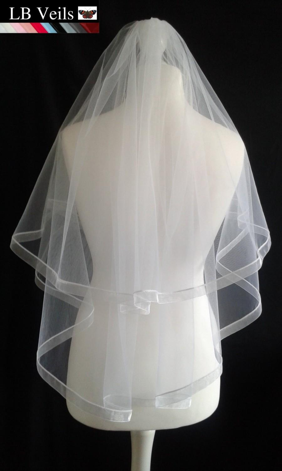 Mariage - White, 2 Tier, Veil, Ribbon, Edge, Wedding, Organza, Waist, Length, Elbow, Fingertip, Short, Chapel, Pink, Grey, Black, LB Veils LBV184 UK