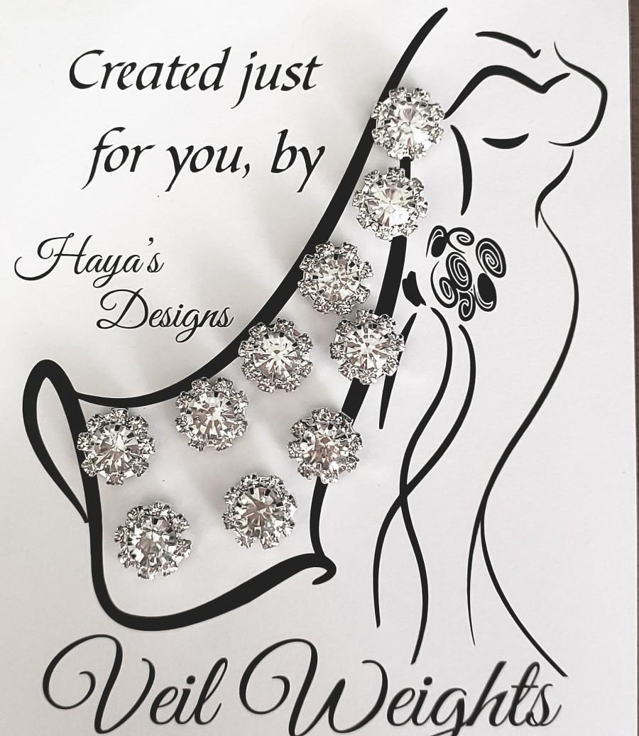 Mariage - Veil Weights Crystal Flower/Bridal/Elegant/Wedding/Wedding Veil/Double Sided Set of 10