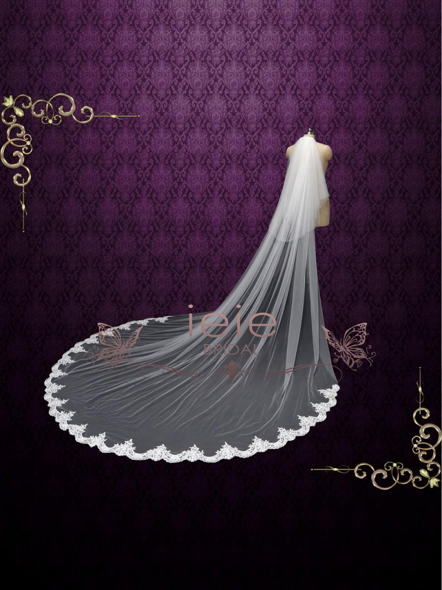 Mariage - Long Cathedral Length Lace Wedding Veil with Blusher