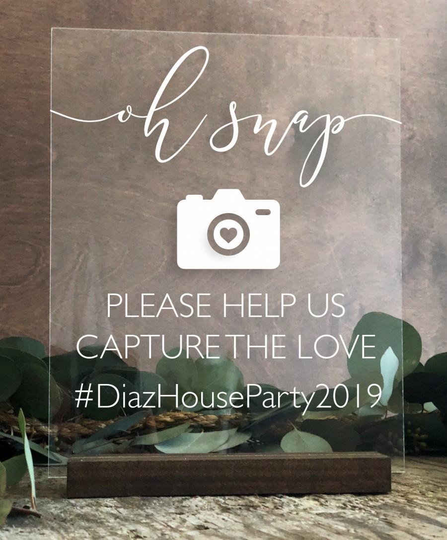 Wedding - Acrylic Hashtag Sign Help Us Capture the Love Social Media Clear Glass Look Acrylic Wedding Sign