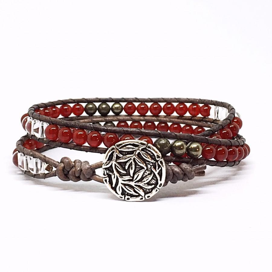 Mariage - Carnelian Bracelet Wrap Bracelet for Woman Boho Bracelet Beaded Leather Wrap Bracelets for Women Red Carnelian Gift for Wife Girlfriend