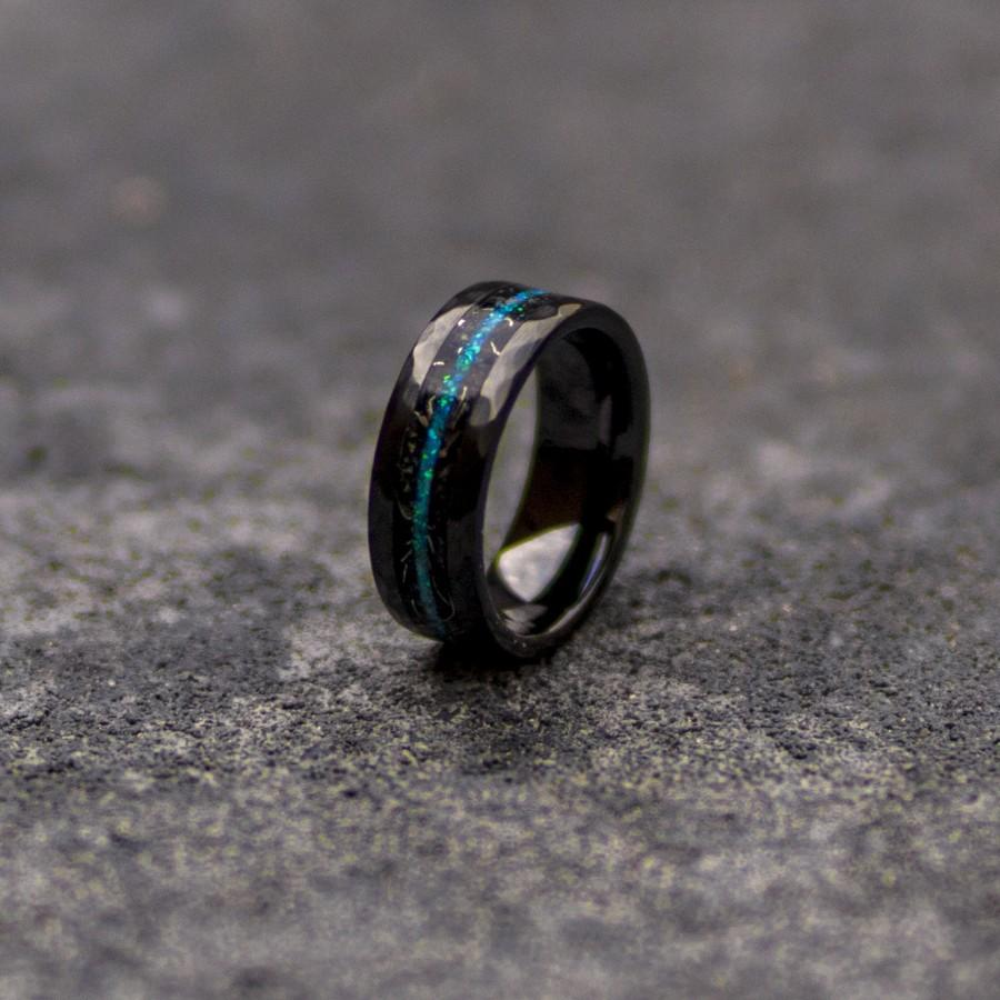 Wedding - Black Hammerd ceramic ring, wedding, mens wedding band, opal ring, boyfriend gift, tungsten ring, meteorite, meteorite ring, ceramic ring.