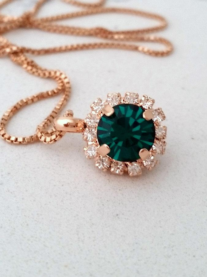 Mariage - Emerald necklace,emerald green necklace,Rose gold ncklace,Emerald Bridal necklace,Emerald Bridesmaids gift,Swarovski necklace,Gold or silver