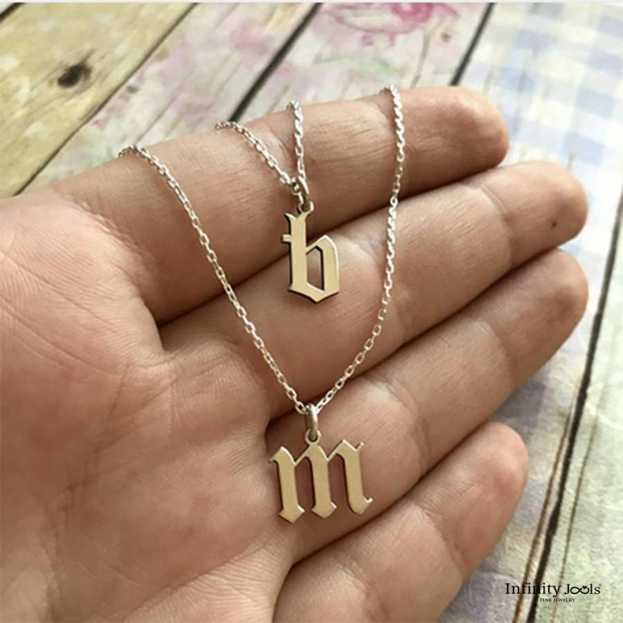 Mariage - Dainty Initial Necklace - Gold Filled Letter Necklace, Gothic Letter Necklace, Old English Initial Necklace, Personalized Name Jewelry