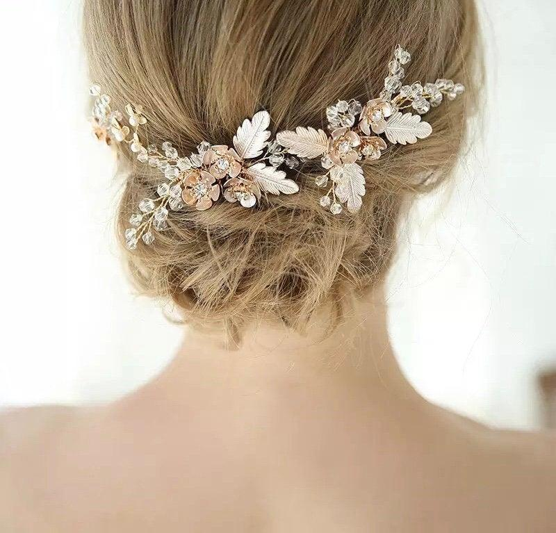 Mariage - Bridal gold wired hair comb with leaves and stone, perfect for weddings, bridal shower, prom, engagement party (set of 2)